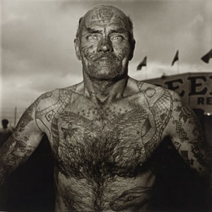 Diane Arbus Tattooed Man at a Carnival 1970