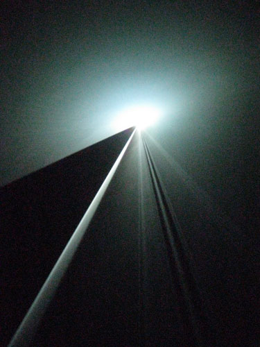 Anthony McCall Installation of vertical works at Ambika P3, 2011