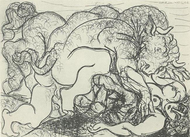 Picasso Amorous Minotaur with a Female Centaur (Minotaure amoureux d'une femme-centaure)